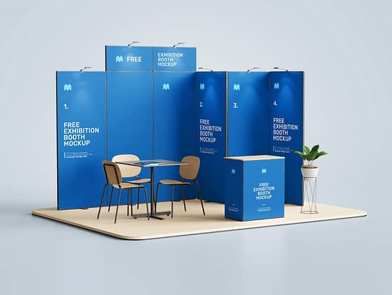 Free exhibition booth mockup