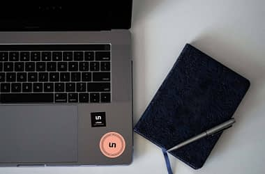 Free Sticker on Laptop Mockup